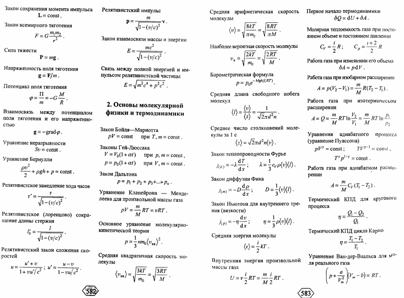 Углубленные формулы(шпаргалки) по молекулярной физике док